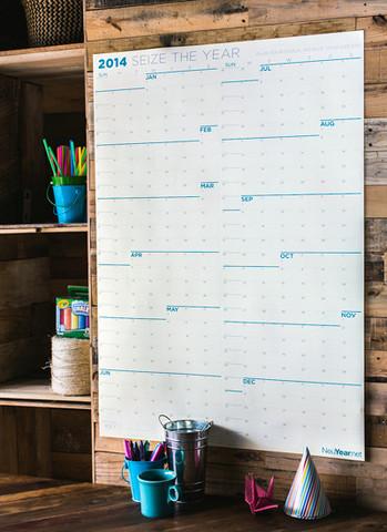 "NeuYear 2014 Calendar. Dry Erase or Paper. 27"" x 39"" NeuYear.net. $19- $24."