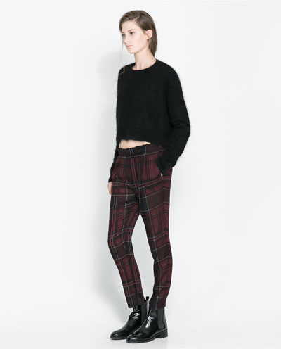 Checked trousers. Zara. Was: $59.90 Now: $29.99.