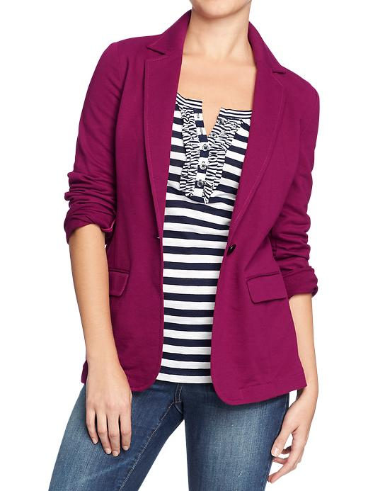 Terry fleece blazer. Also available in black and grey. Old Navy. $39.94.