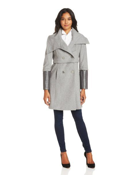 Tahari Madison double breasted wool coat with faux leather sleeves. Amazon.com.List price: $300. Now: $109.35