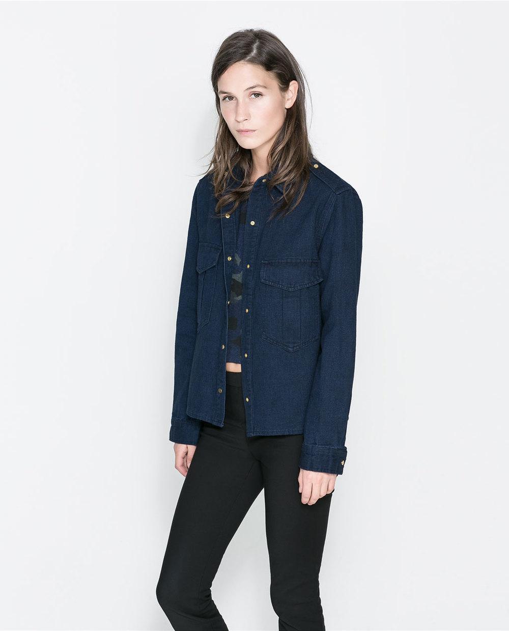 Zara Denim overshirt. Zara. Was: $79.90. Now: $29.99.