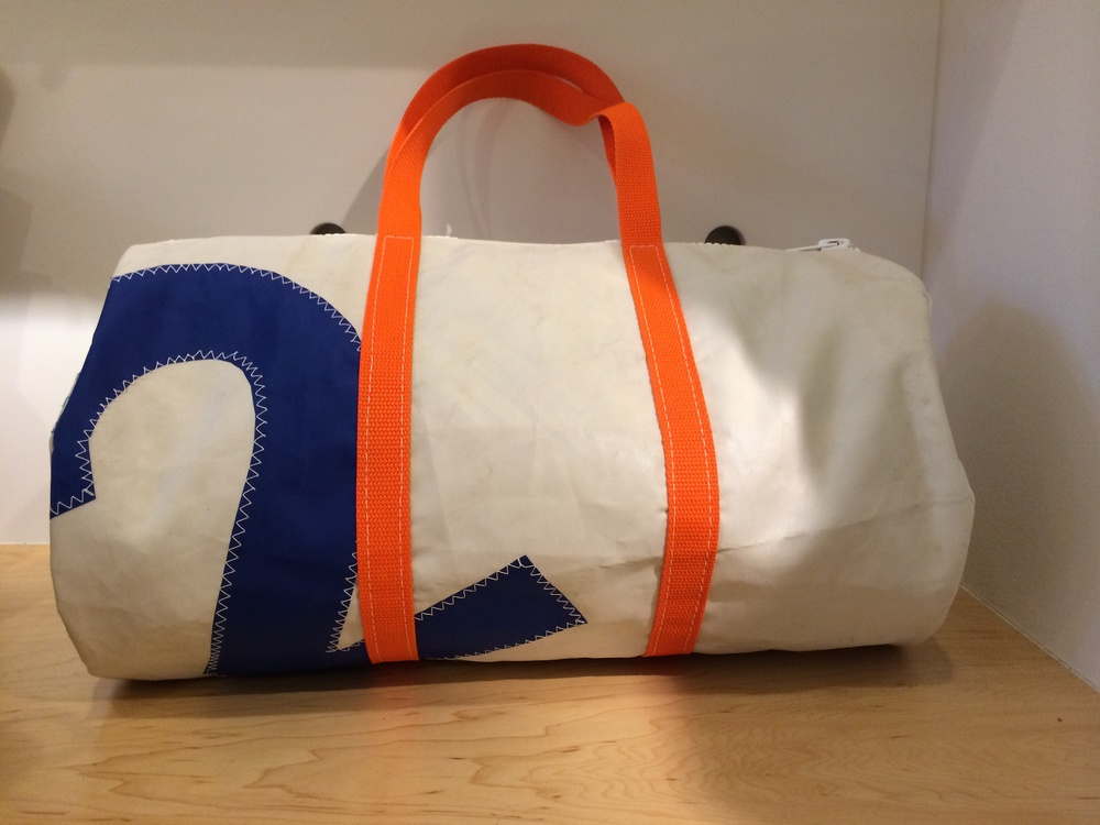San Juan canvas bag  from Friday Harbor made from remnants of canvas and sail cloth. Variety of sizes and designs available. Item shown: $78.95.