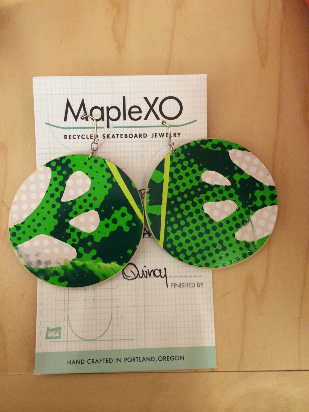 "MapleXO  jewelry is made from skateboards! ""Avoid getting wet. Use earring backs. Wear these often. You are beautiful. "" Item pictured: Was: $42 Now: 30% off."