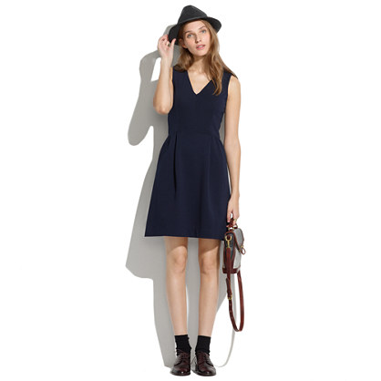 Gallerist ponte v-neck dress. Night vision. Also available in red. Madewell. $118.