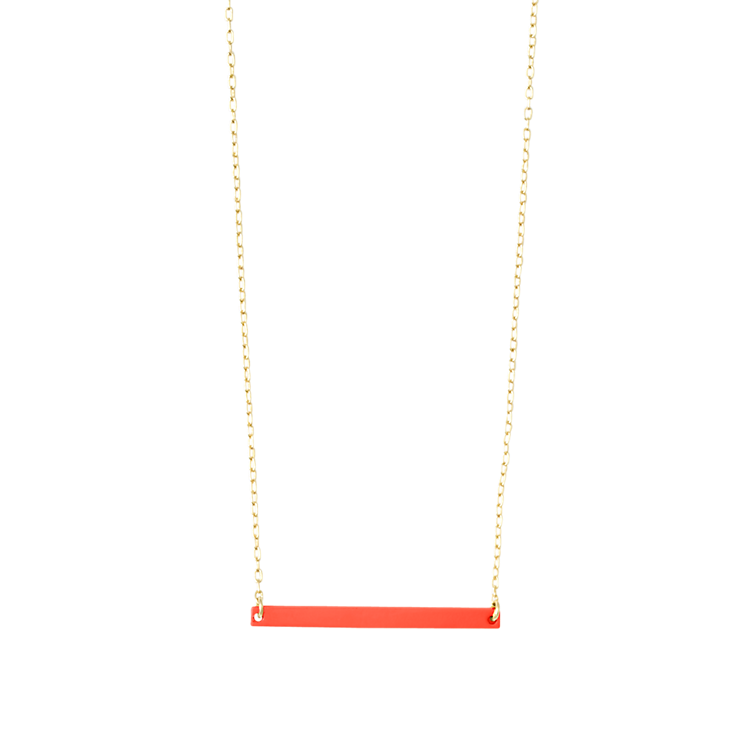 Kate Spade Skinny rectangle necklace. Available in three colors. Saturday.com. $40.