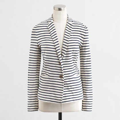 Factory Stripe knit pocket blazer. J Crew Outlet. Was: $89. Now: $59.50.