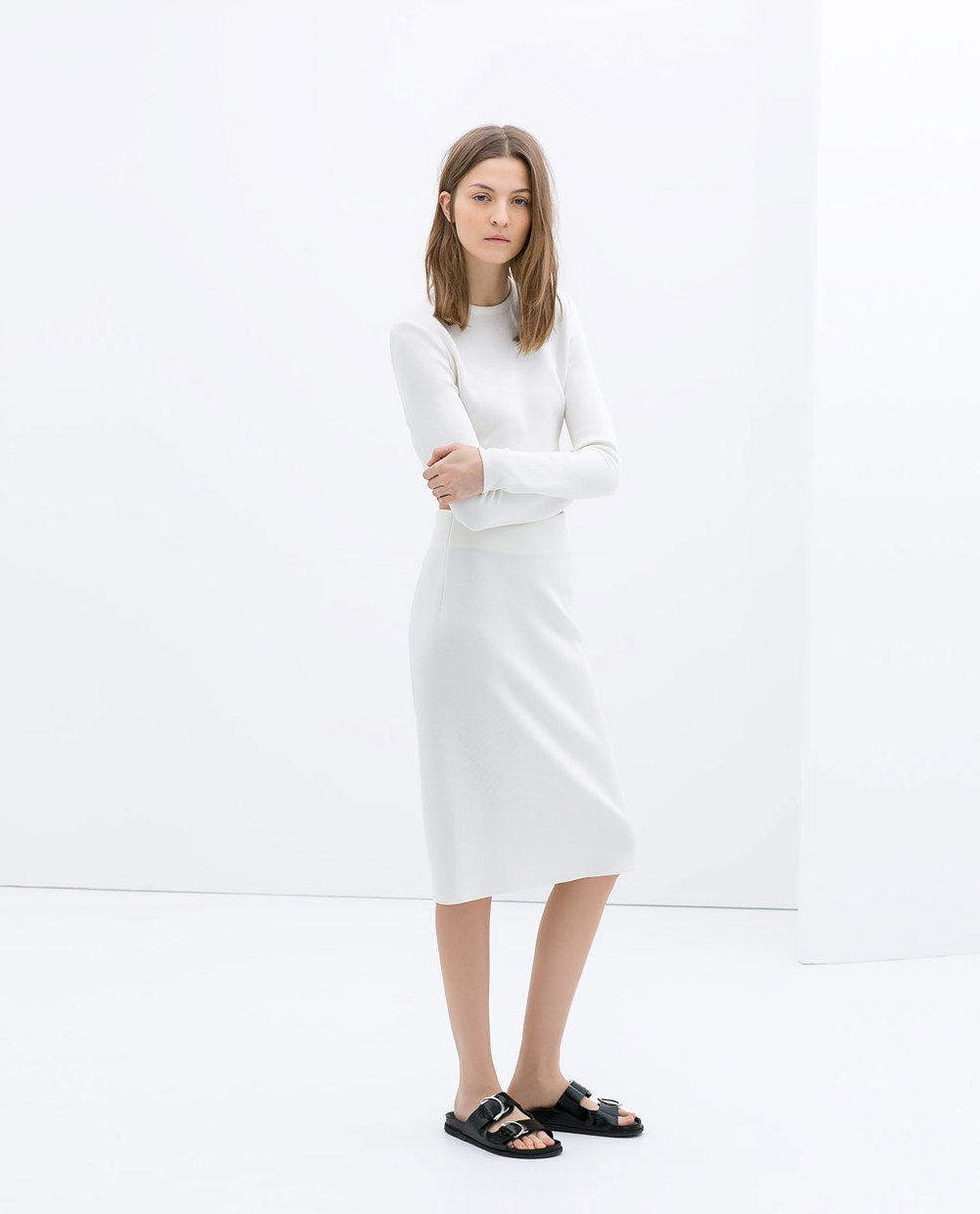 Apparently the folks at Zara were equally taken by Jennifer Lawrence on the Daily Show. See her photo below and compare. This look is perfection. Pencil skirt. Zara. $79.90.