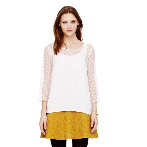 Meagan Sheer dotted top. Also available in black. Club Monaco. Was: $149 Now: $99.