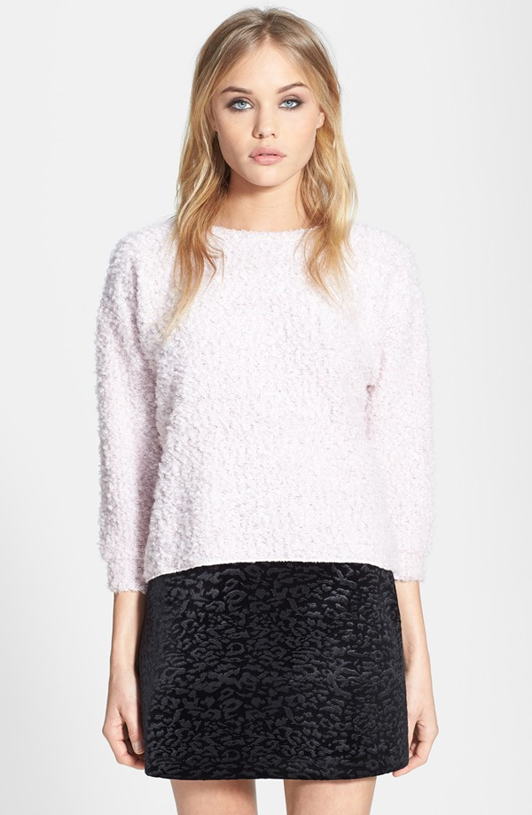 Topshop Textured sweater. Available in multiple colors. I wear mine a couple of times per week. Nordstrom. $50.