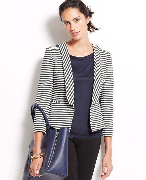 Petite Club stripe jacket. Ann Taylor. $149.