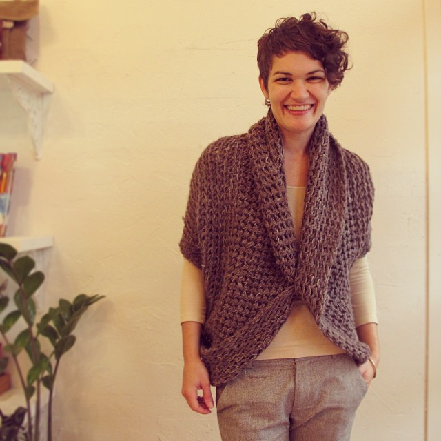 Convertible shrug by Christine Chaney. Velouria. $276.
