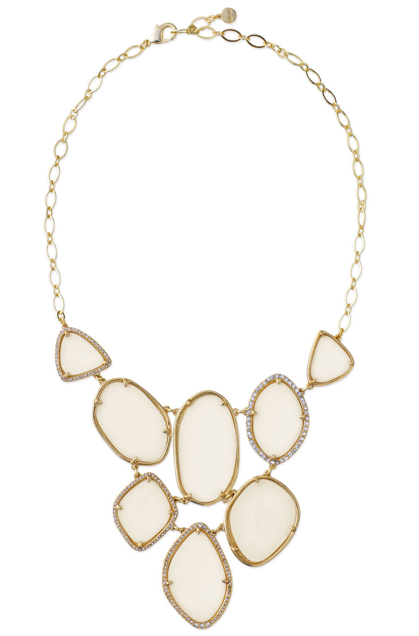 Ivory Expoxy & gold bezel set statement necklace. Fiona bib necklace. Stella & Dot. $118.