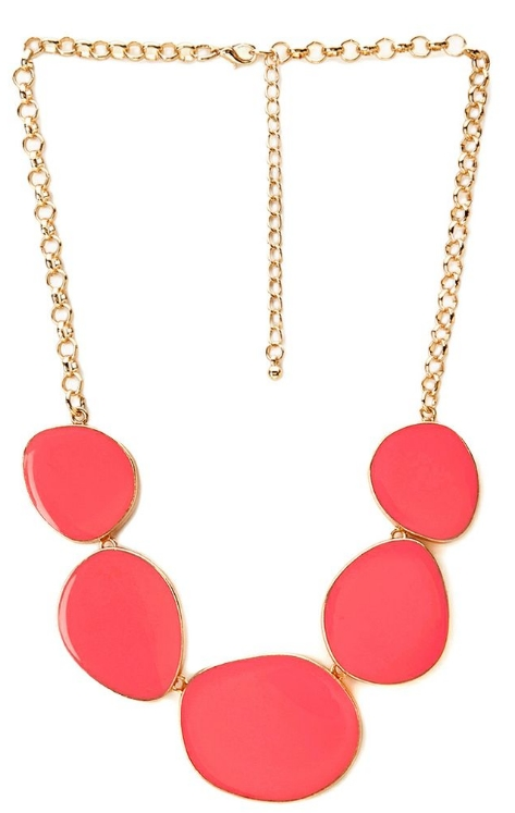 Subtle glam lacquered necklace. Available in raspberry or black. Forever 21. $8.80.
