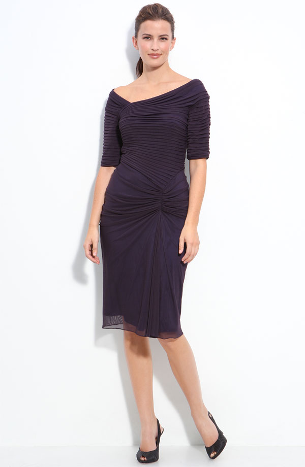 Tadashi Shoji Asymmetrical ruched mesh dress. Available in multiple colors. Nordstrom. $228.