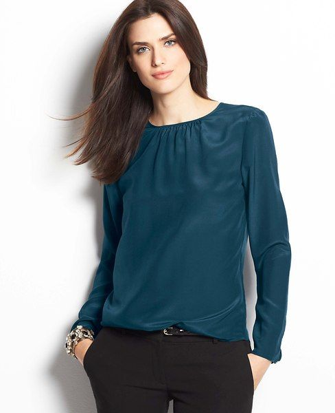 Shirred silk blouse. Available in winter white or blue. Ann Taylor. Was: $98. Now: $89.99.