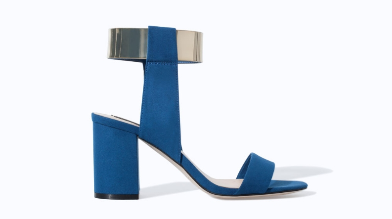 Sandal with metallic ankle strap. Also available in black. Zara. $59.90.