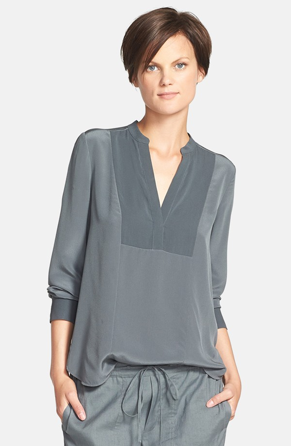 Vince Long sleeve speed stitch tuxedo blouse. Nordstrom. $295.