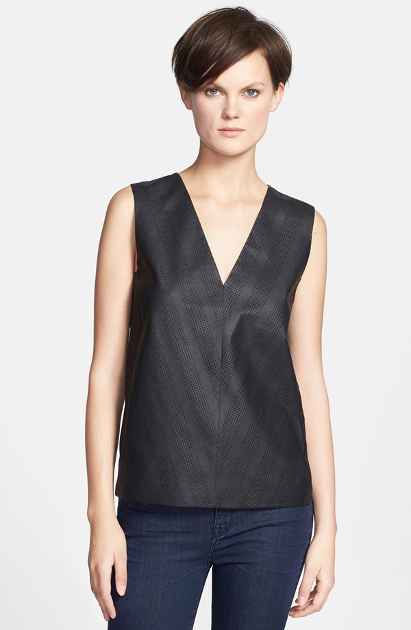Vince chevron perforated leather V-neck. Nordstrom. $525.