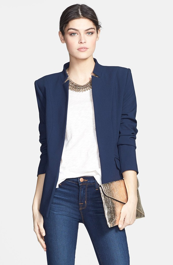 Trouve structured jacket. Available in black or blue. $118.