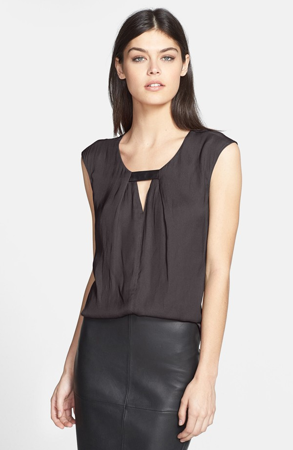 Trouve front keyhole woven top. Available in red or grey. Nordstrom. $58.