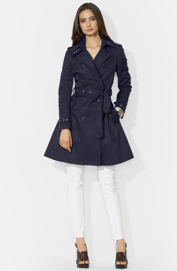 Lauren Ralph Lauren Cotton blend skirted trench. Available in navy or khaki. Nordstrom. $190.