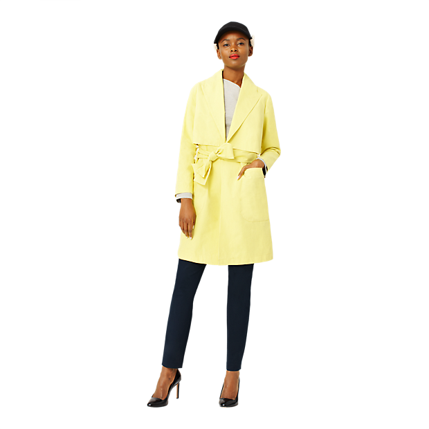 Kate Spade Wrap around rain coat. Available in lemon yellow, ink blue, mocha. Saturday.com. $220.