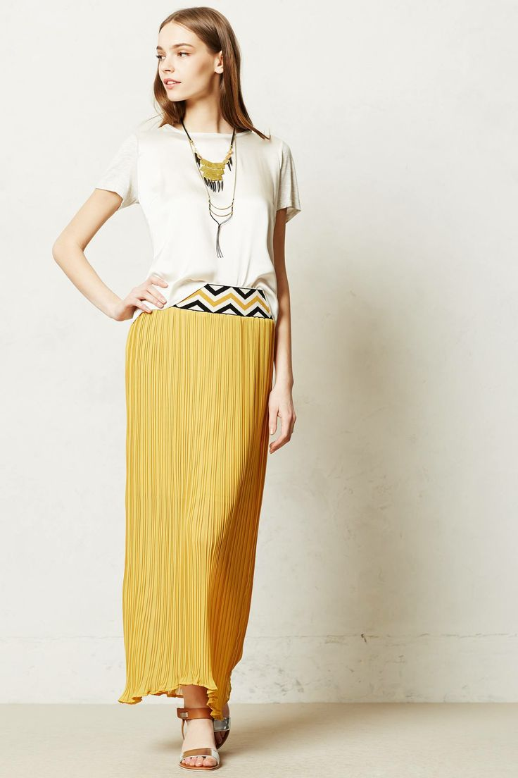 Patula Maxi skirt. Available in yellow, navy. Anthropologie. $128.