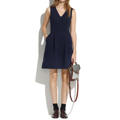 Gallerist Ponte V-Neck dress. Available in red, navy. Madewell. Was: $118. Now: $89.