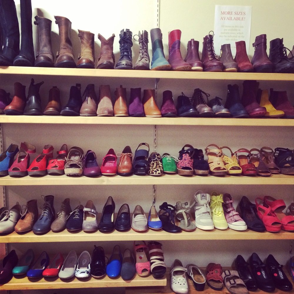 The sale wall of dreams at Footloose in Victoria, B.C.
