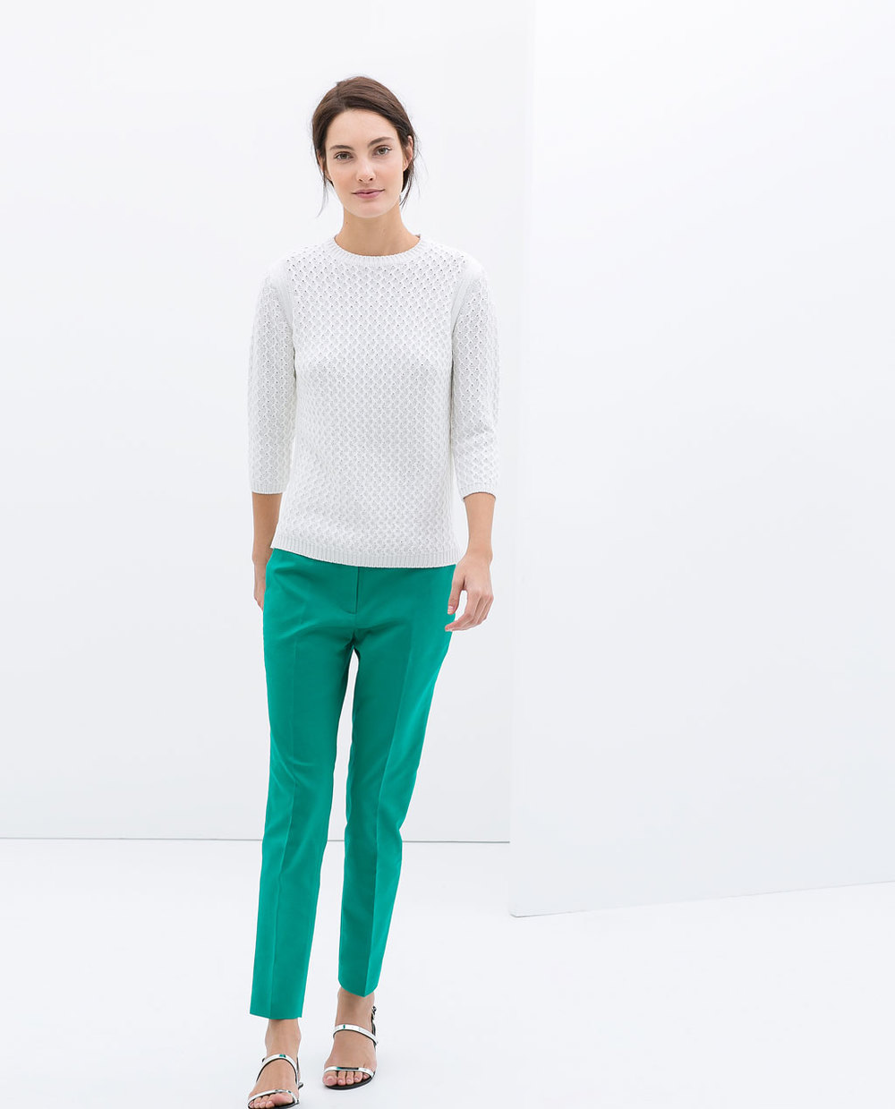 Trousers. Available in red, khaki, green. Zara. $59.90.