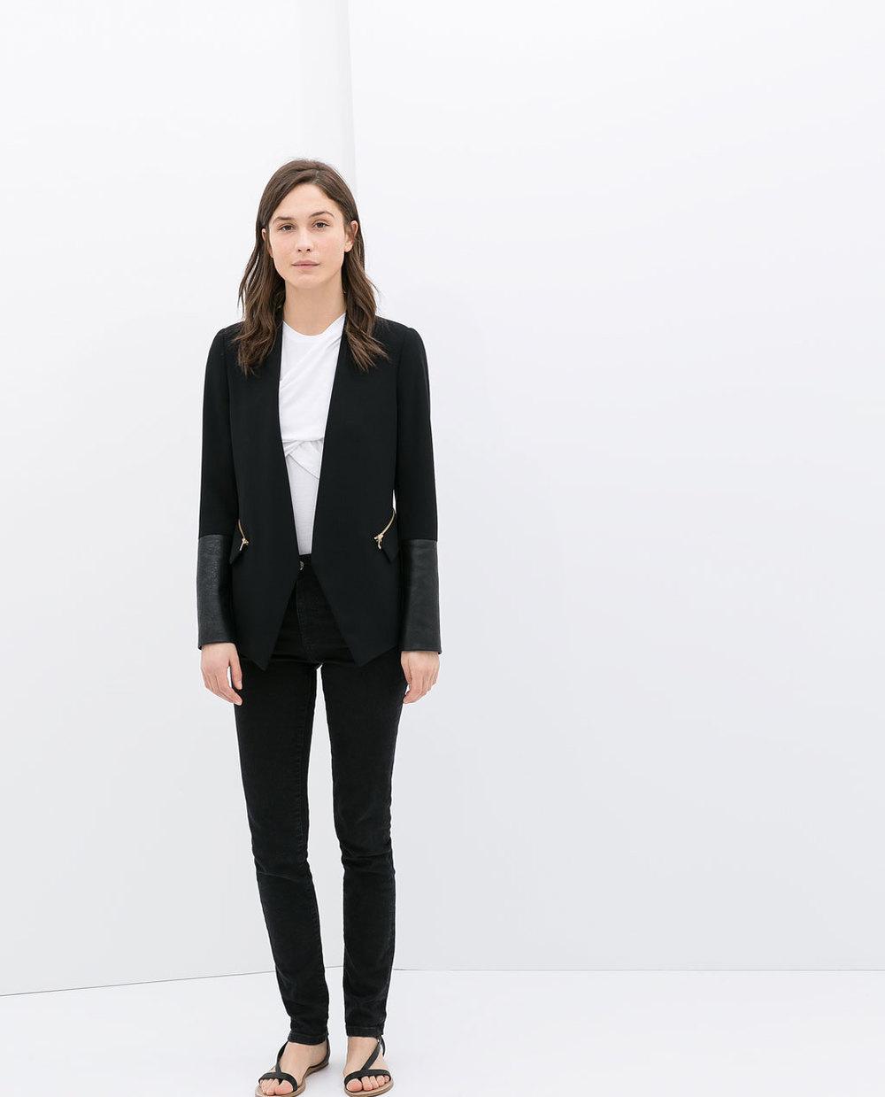 Combined faux leather blazer. Zara. $119.