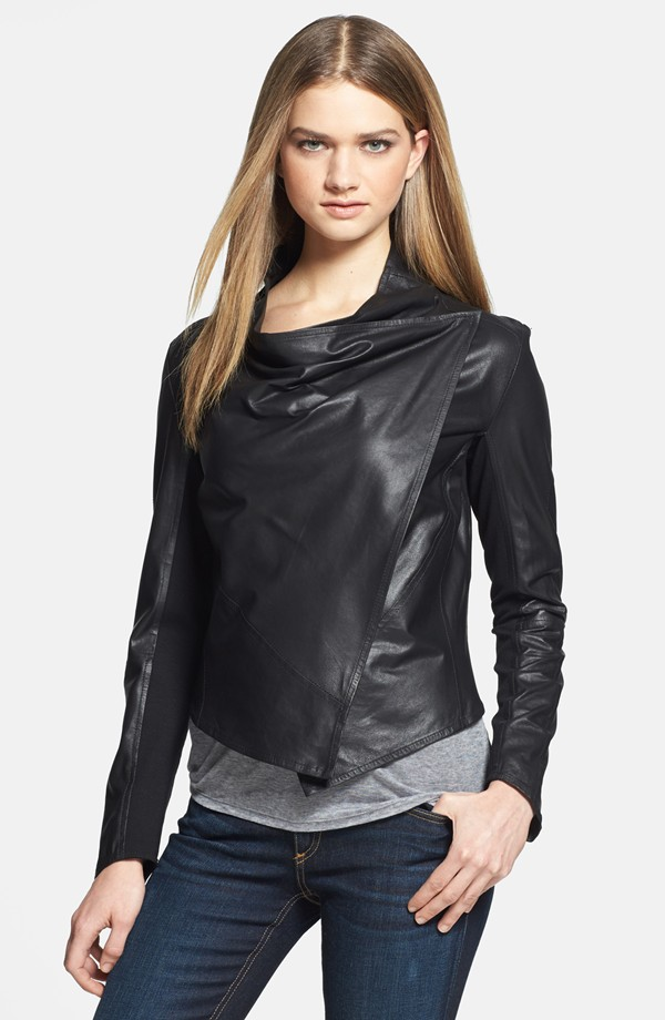 LaMarque Perforated black leather jacket. Also available in bright blue or white. Nordstrom. $398.