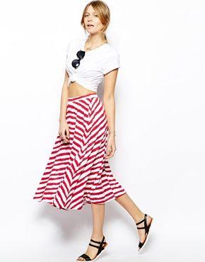 Midi skirt in broken stripe. ASOS. $41.40.