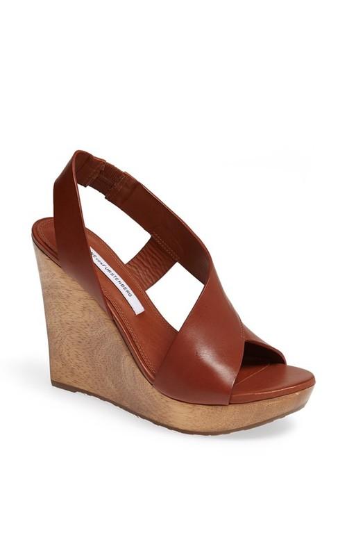 Diane von Furstenberg Sunny wedge sandal. Available in black, brandy. Nordstrom. $298.