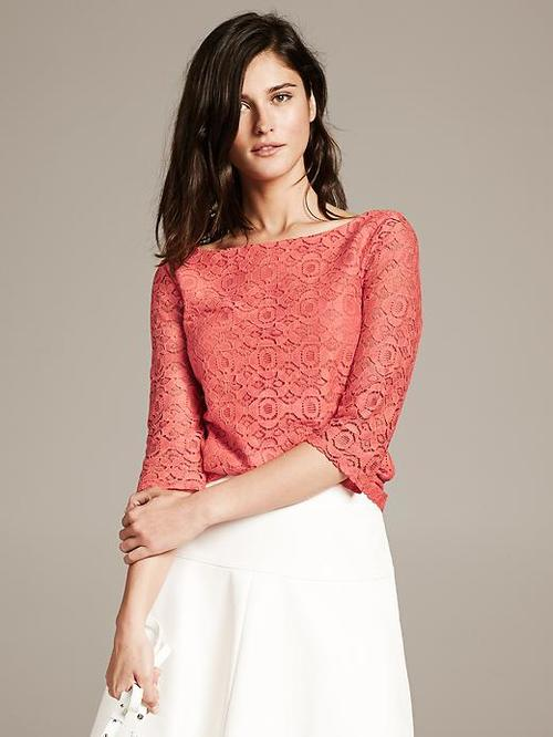 Mosaic lace top. Available in multiple colors. Banana Republic. $55. 40% off sales are common.