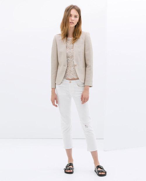 Raffia blazer. Zara. $99.90.