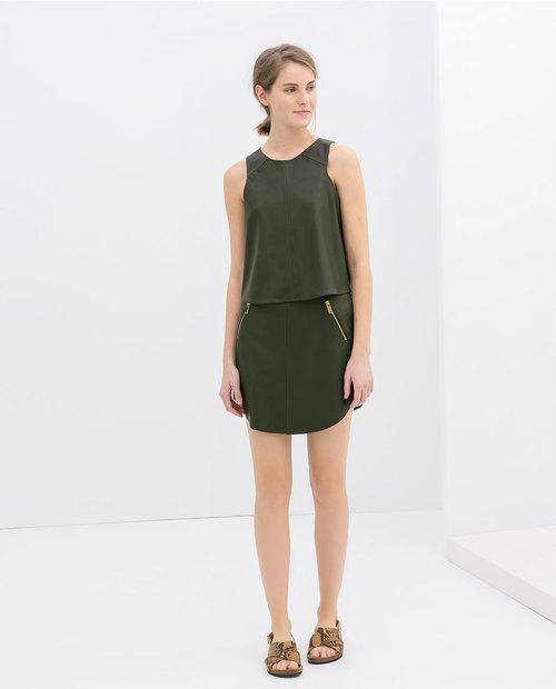 Faux leather sleeveless top. Khaki. Zara. $59.90.