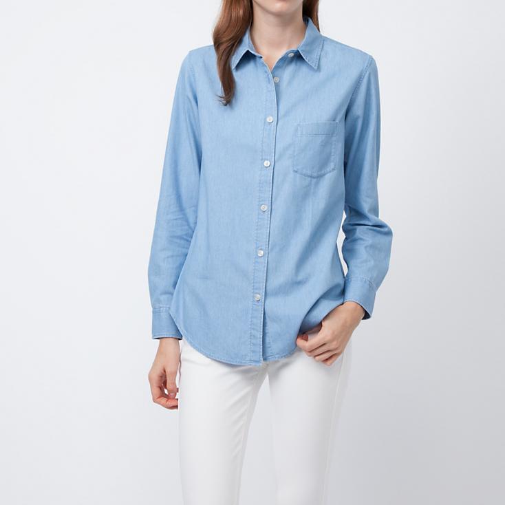 Denim long sleeve shirt. Uniqlo.Was: $29.90. Now: $19.90.