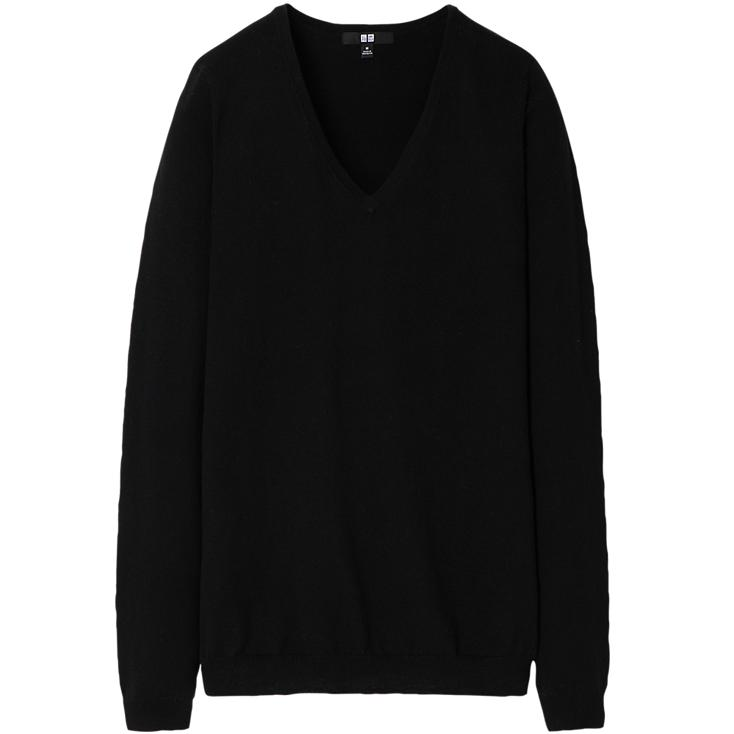 Cotton cashmere v-neck sweater. Available in multiple colors. Uniqlo. $29.90.