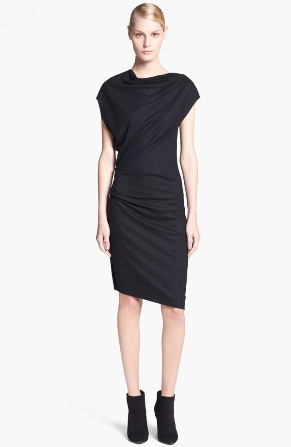 Hlmut Lang Sonar Wool Asymmetrical sleeve dress. Nordstrom. $290.