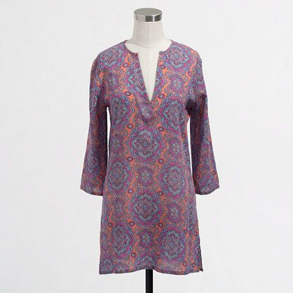 J Crew Factory Printed crinkle tunic beach confer up. Available in multiple patterns and colors. Was: $64.50 Now: $38.50.