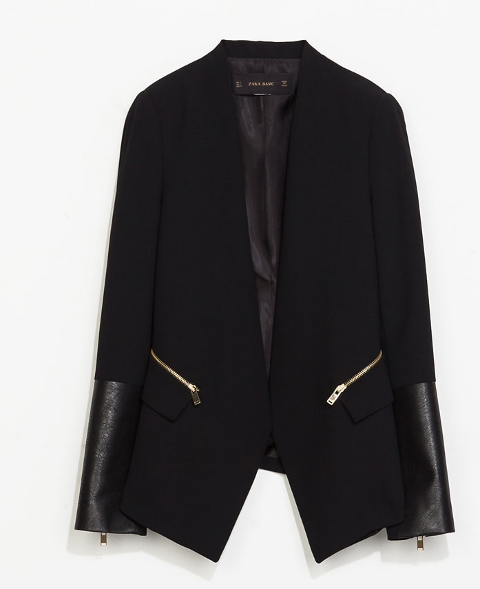 Combined Faux leather blazers. Zara. $119.