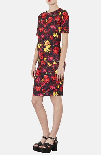 Topshop Ditsy Splash body con maternity dress. Nordstrom. $60.