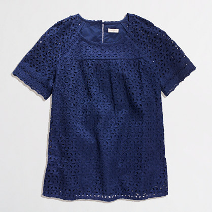 J Crew Factory Outlet Floral eyelet top. Available in dark cove, white, melon. Was: $75 Now: $39.50 until April 16th.