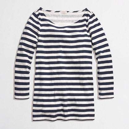 J Crew Factory Outlet Striped Bateau top. Available in navy/white, pink/white, grey/white. Was: $42.50 Now: $29.50 until April 16th.
