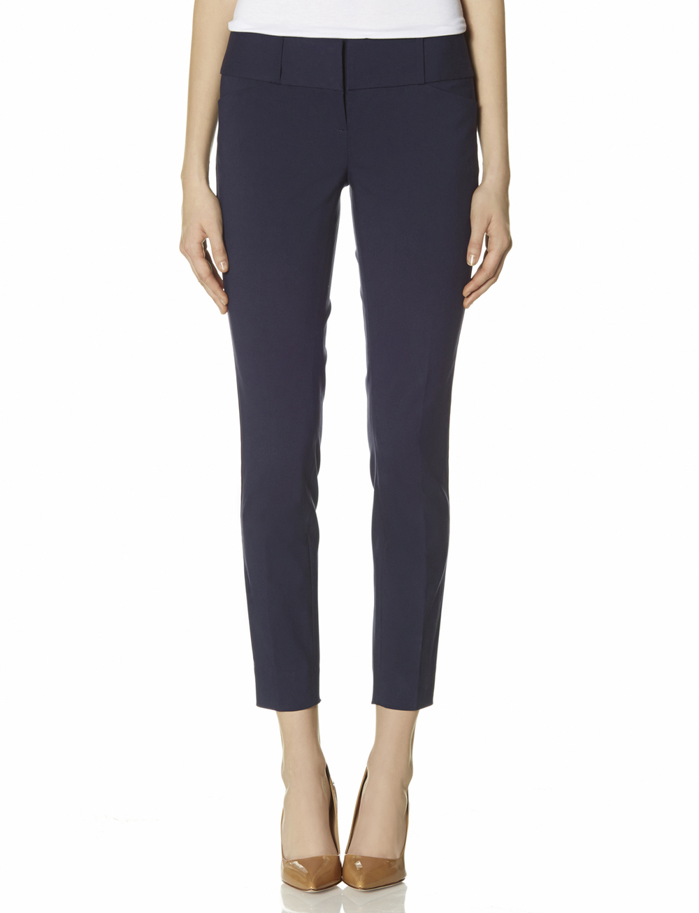 Exact Stretch Zip pocket ankle pants. Available in petites with a 24 inch inseam. Navy, black, Heather Blue. The Limited. Was: $69.95 Now: $39.90.
