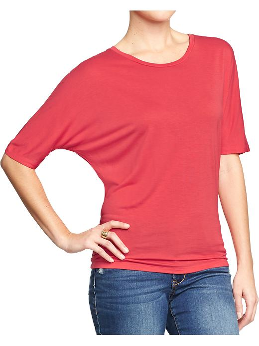 Dolman Sleeve tee. Available in petite. Rebellion red, white, black, light grey. Old Navy. $16.94.