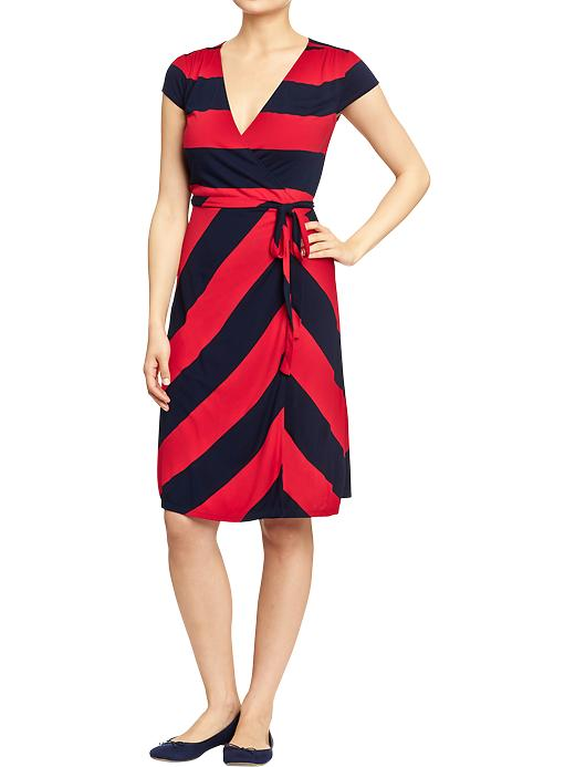 "Wrap Front jersey dress. Available in petite for 5'4"" or shorter. Navy/ red stripe, black/white stripe, black flower, pink flower. Old Navy. Was: $29.94 Now: $25.00."