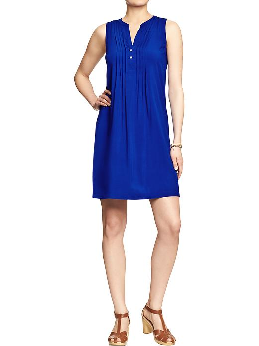Sleeveless Shift dress. Available in Just Blue It, Rebellion red or Navy blue print. Old Navy. Was: $29.94. Now: $29.