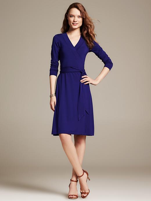 Gemma Wrap dress. Available in petite. Royal violet, Aquarium Blue, Holly berry, Preppy navy, Black. Banana Republic. $98.